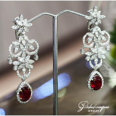 [022878] Ruby with diamond earring Discount 190,000