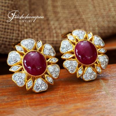 [024536] Myanma ruby with diamond earring Discount 149,000