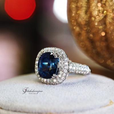 [024995] แหวนไพลินเผาเก่าฝังเพชร ลดราคาเหลือ 259,000