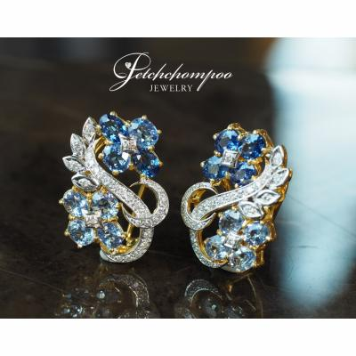 [024474] Blue sapphire with diamond earring Discount 69,000