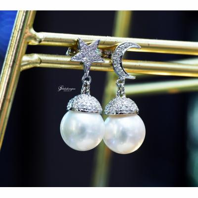 [023399] Pearl With Diamond Earring Discount 39,000