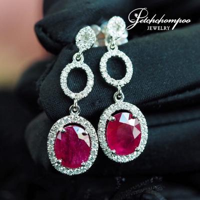 [024033] Ruby and diamond earring Discount 49,000