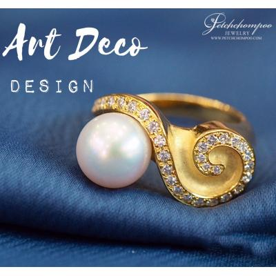 [012023] Pearl Ring with Diamonds Discount 29,000