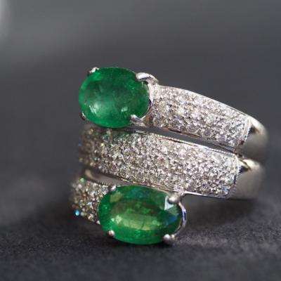 [024143] Emerald with diamond ring Discount 89,000
