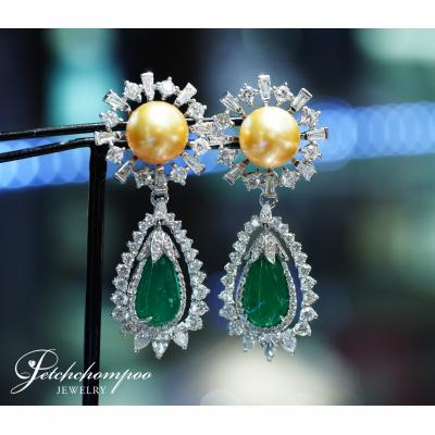 [024859] Golden South Sea Pearl and Emerald with diamond Earring Discount 190,000