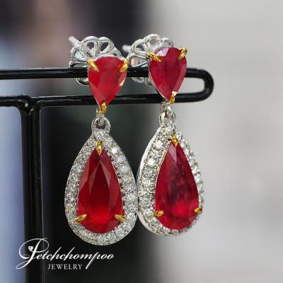 [024109] Mozambique ruby with diamond earring Discount 79,000