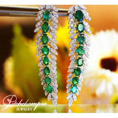 [022451] Emerald With Diamond Earring Discount 259,000