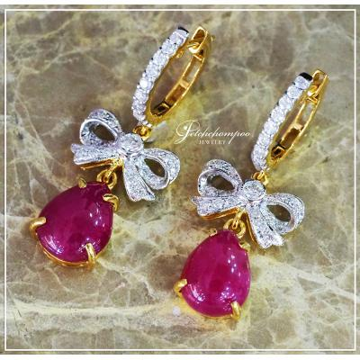 [025016] Ruby and diamond earrings Discount 39,000