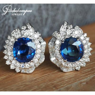 [021989] Blue Sapphire With Diamond Earring Discount 790,000