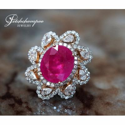 [022709] Myanmar Ruby With Diamond Ring Discount 390,000