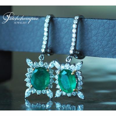 [023984] Emerald with diamond earring Discount 49,000