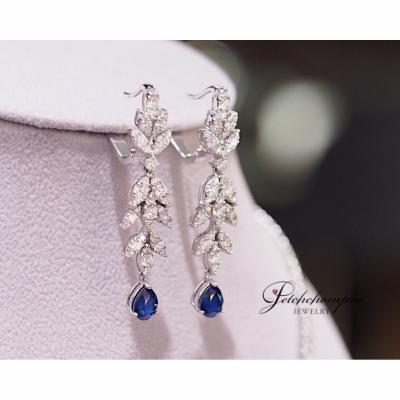 [023806] Blue Sapphire With Diamond Earring Discount 79,000