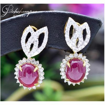 [018447] Ruby with diamond earring Discount 69,000