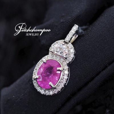 [015339] สร้อยพร้อมจี้ Pink Sapphire ฝังเพชร Half Moon  69,000
