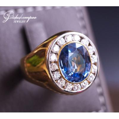 [023615] Blue sapphire with diamond men ring Discount 89,000
