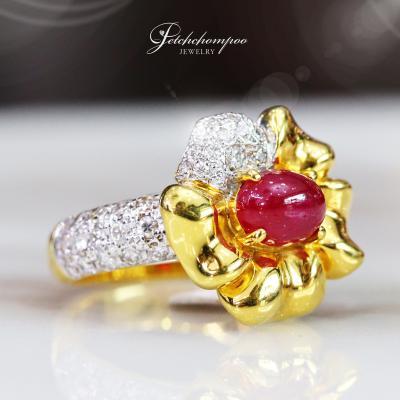 [25551] แหวนทับทิมพม่าฝังเพชร  39,000