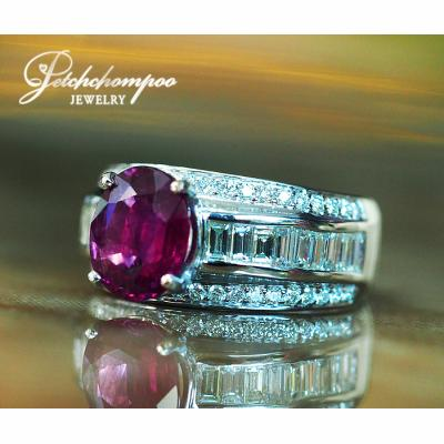 [022732] Siam Ruby 2.59 carat with diamond ring GIL Discount 290,000