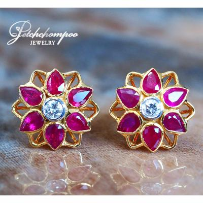 [022335] Diamond And Ruby Earring Discount 39,000