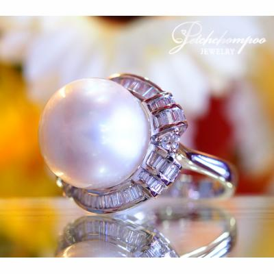 [022429] 15 mm South Sea Pearl With Diamond Ring Discount 69,000