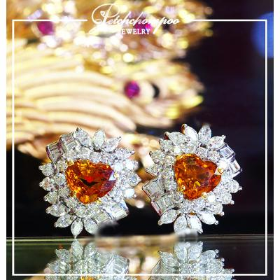[022386] Yellow Sapphire With Diamond Earrings Discount 190,000