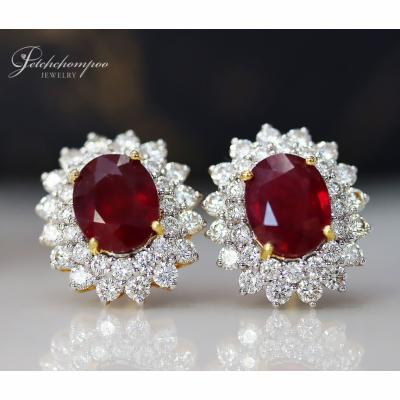 [025129] Ruby and diamond earrings Discount 99,000