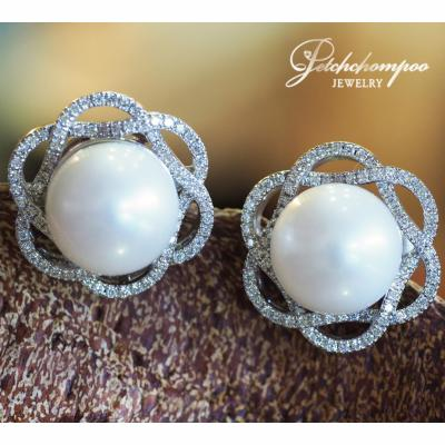 [023404] Southsea Pearl With Diamond Stud Earring Discount 59,000