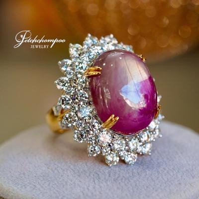 [023960] แหวนทับทิมพม่าสตาร์กิมบ่อเซี่ยงล้อมเพชรสองชั้น ลดราคาเหลือ 349,000