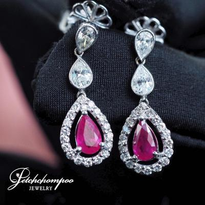 [024160] Ruby with diamond earring Discount 99,000
