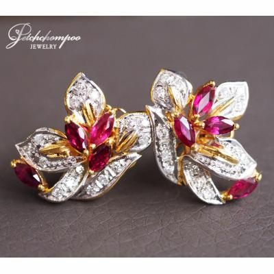 [023625] Ruby with diamond earring Discount 39,000