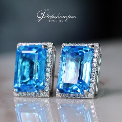 [023737] Blue topaz with diamond earring Discount 43,000
