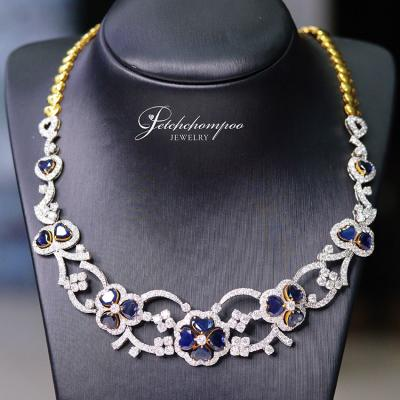 [020035] Myanmar Sapphire Necklace with Diamonds Discount 379,000