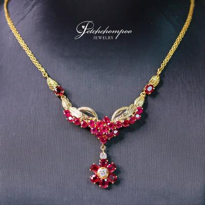 [018432] Gold necklace with diamonds and  Ruby Discount 59,000
