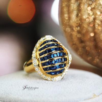 [024994] แหวนไพลินหน้ากว้างฝังเพชร ลดราคาเหลือ 39,000
