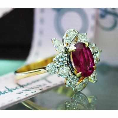 [023162] Siam ruby with diamond ring Discount 59,000