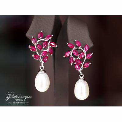 [023716] Ruby with diamond earring Discount 49,000