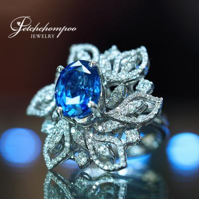 [022574] 7.05 Carats  Ceylon Blue Sapphire With Diamond Ring Discount 390,000