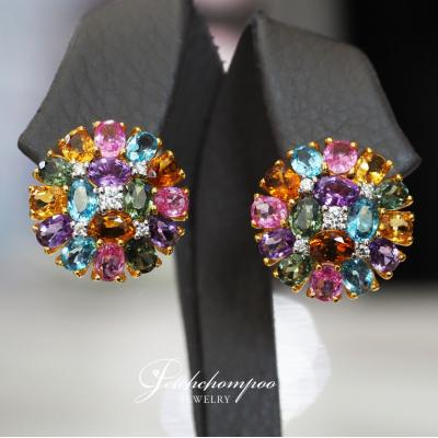 [024422] Multicolor gems with diamond earring Discount 49,000