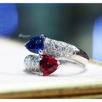 [024922] Ruby and  sapphire Cross Over ring Discount 39,000