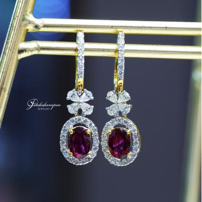 [023838] Ruby with diamond earring Discount 59,000