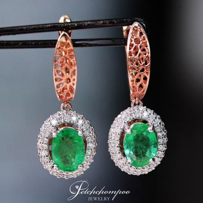 [022443] Colombia emerald With Diamond earrings Discount 50,000