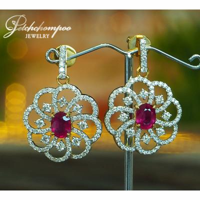 [022830] Ruby with Diamond Earring Discount 169,000