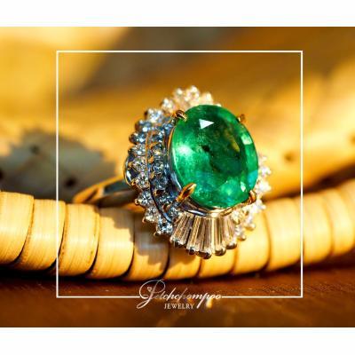 [023886] แหวนมรกตล้อมเพชร ลดราคาเหลือ 69,000
