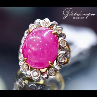 [022236] แหวนทับทิมพม่าล้อมเพชร  79,000